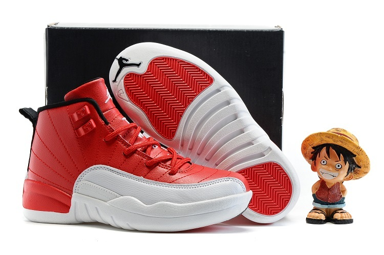 Kids Air Jordan 12 Retro Gym Red Gym Red Black White
