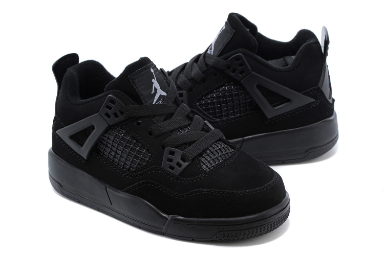 Kids Air Jordan 4 All Black Shoes