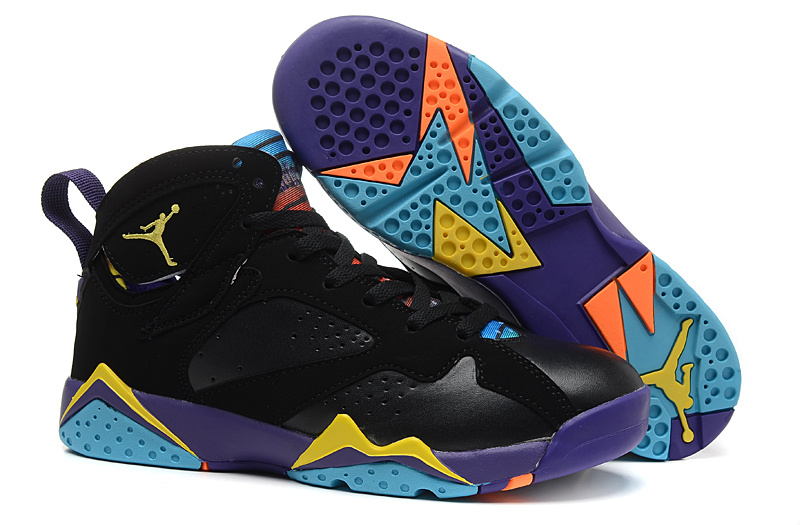 2015 Laura Rabbit Air Jordan 7 Black Purple Yellow Blue Shoes