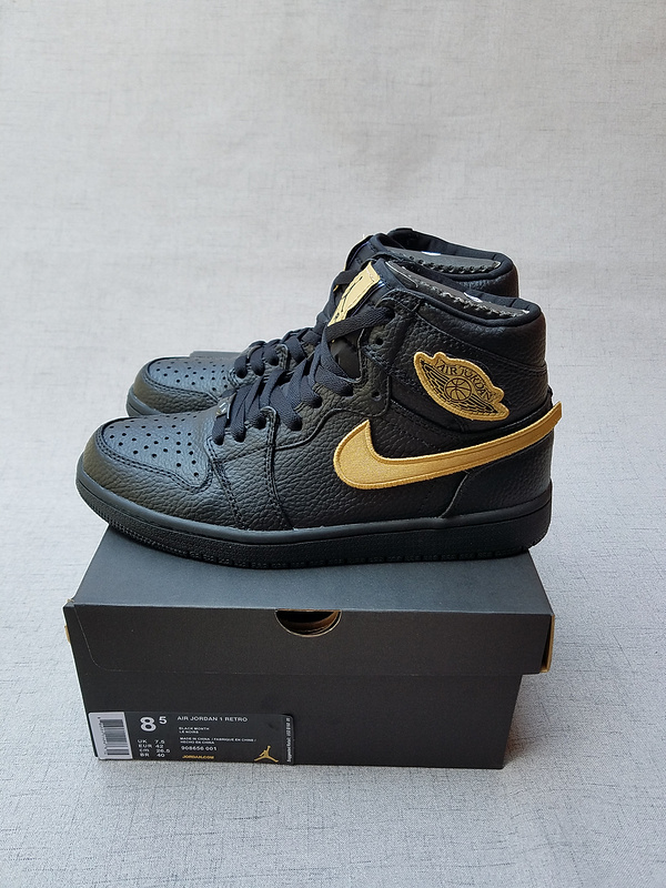 Men Air Jordan 1 BHM Black Gold Magic Buckle Shoes