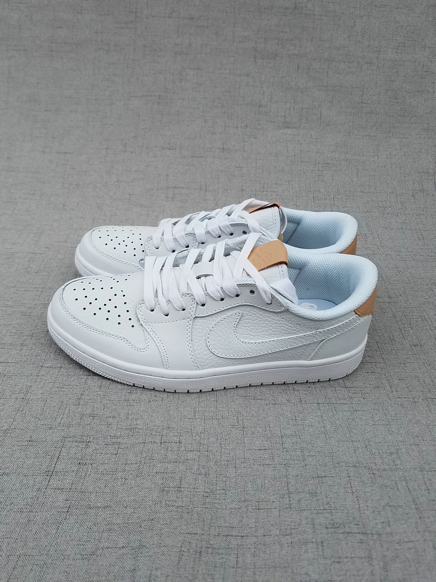 Men Air Jordan 1 Low All White Shoes