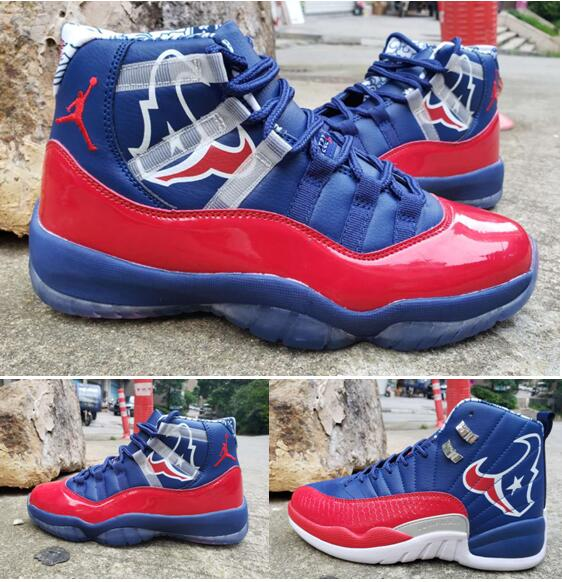 New Air Jordan 11 and 12 Championship Blue Red Shoes