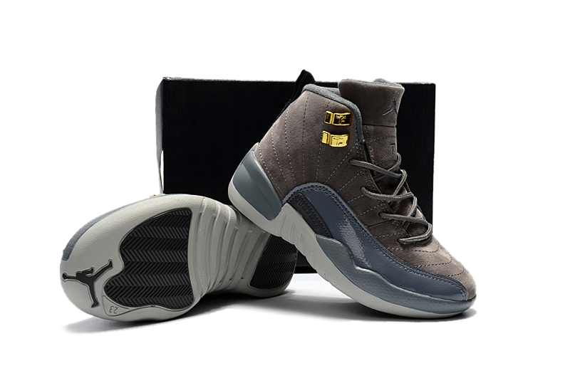 New Air Jordan 12 Dark Grey Gold For Kids