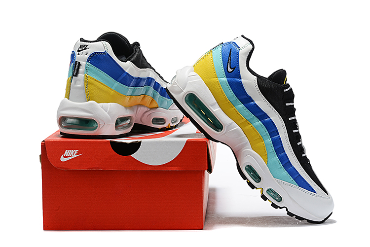 2019 Nike Air Max 95 Swoosh White Blue Yellow Black