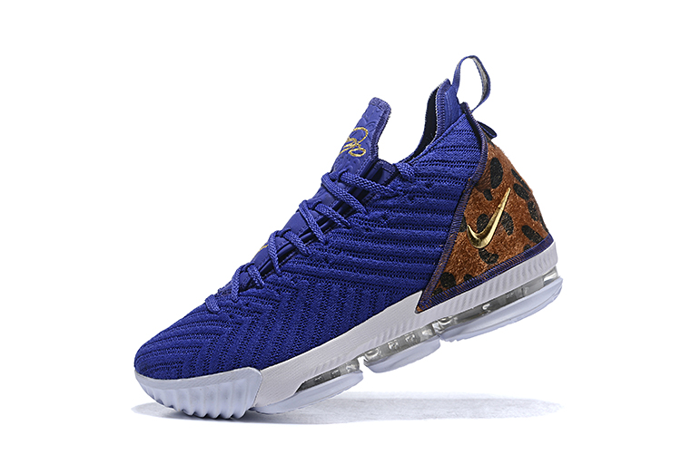 2019 Nike LeBron 16 Blue Cheetah Print Yellow Basketball Shoes