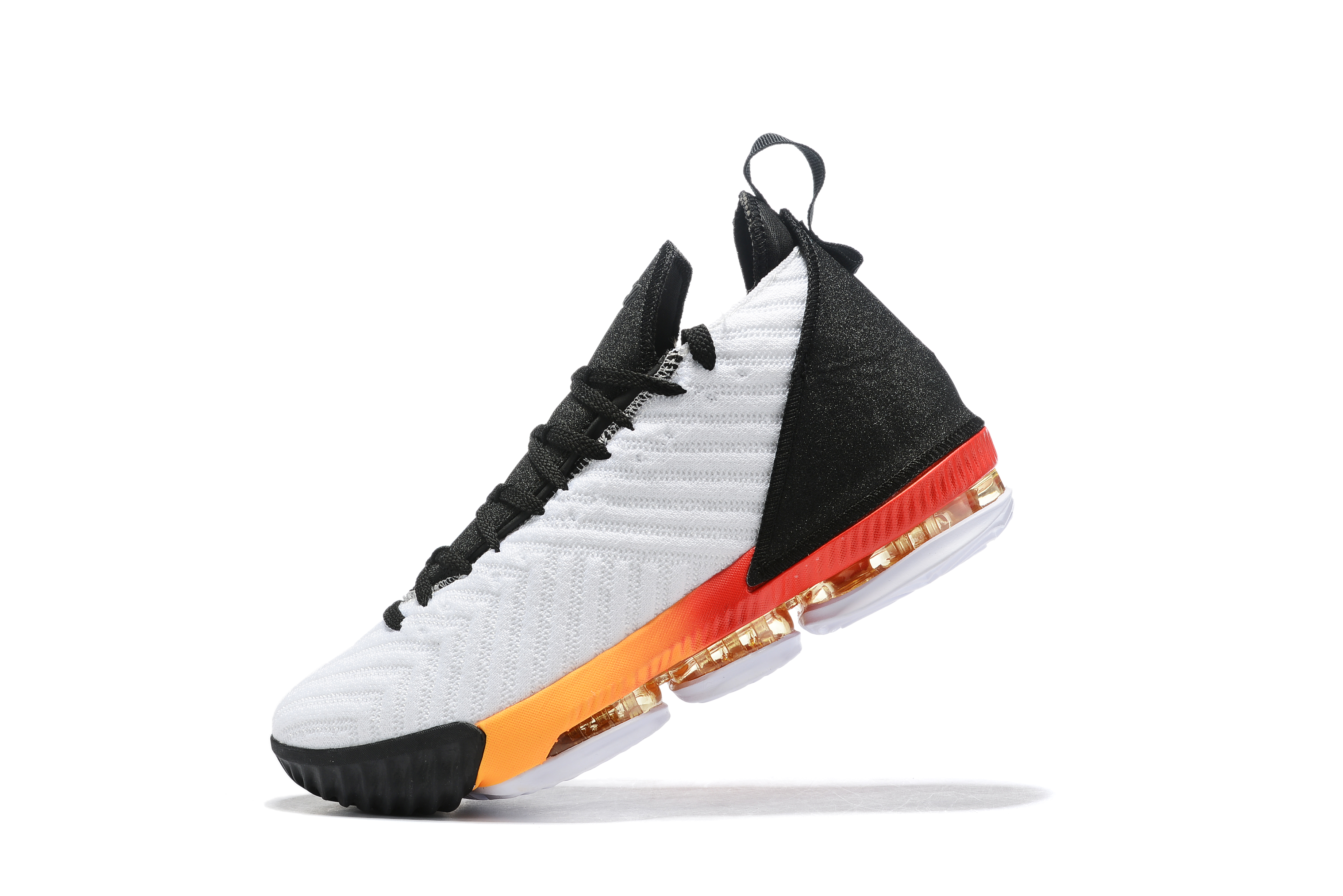 2019 Nike LeBron 16 White Black Orange Basketball Shoes