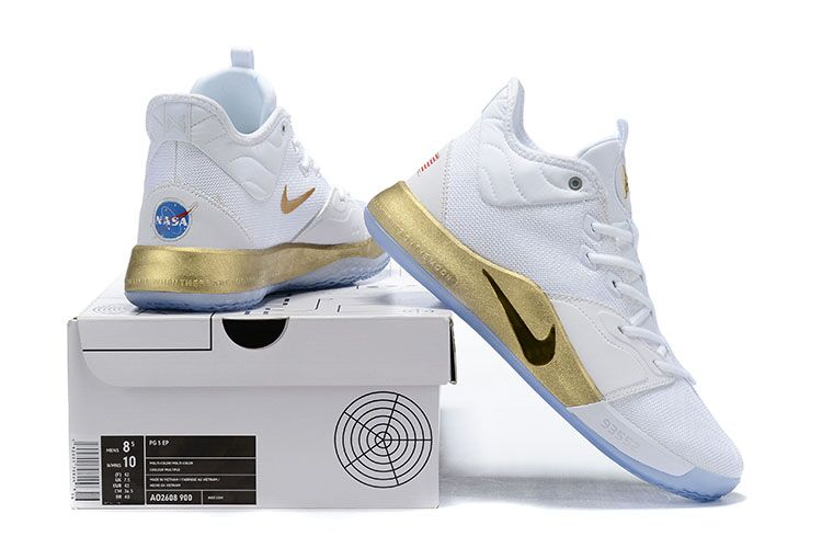 2019 Real Nike PG 3 White Gold Ice Sole