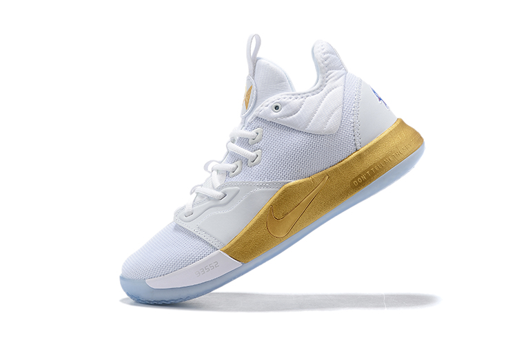 2019 Nike PG 3 White Gold Basketball Shoes