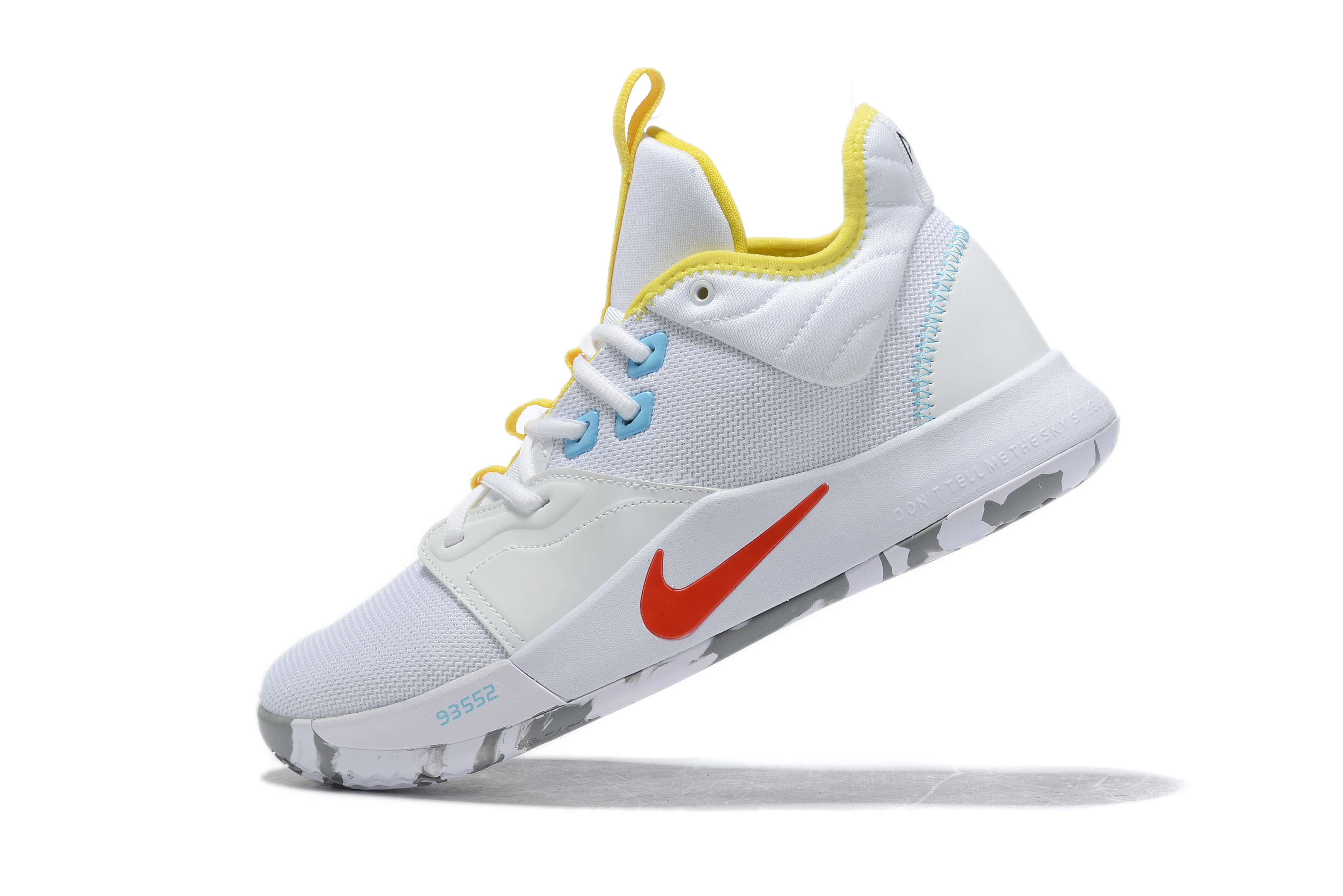 2019 Nike PG 3 White Yellow Red Basketball Shoes