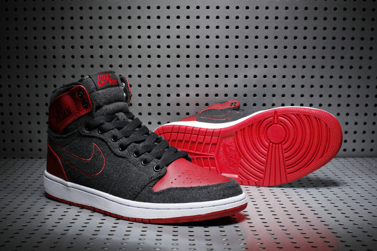 New Air Jordan 1 High Wool Black Red