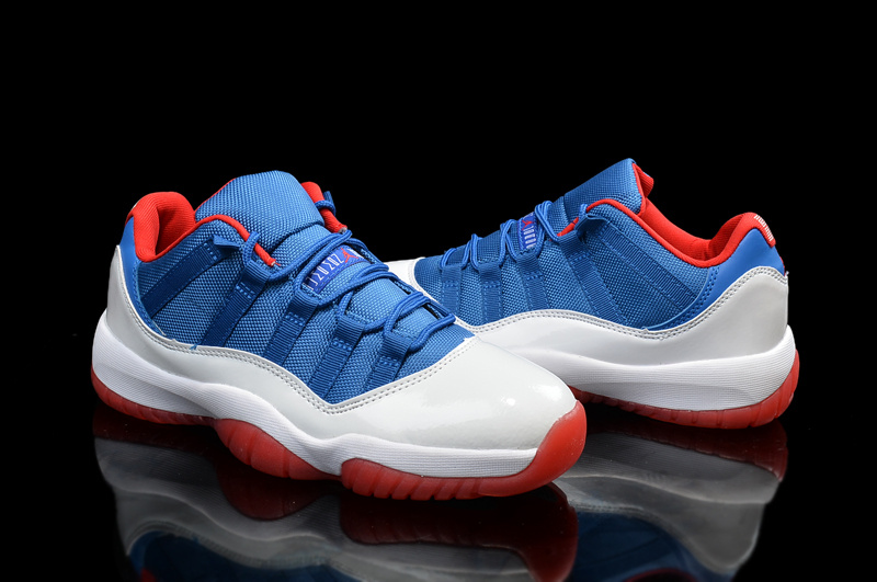 2015 Jordan 11 Low Blue White Red Shoes