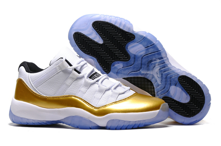 New Air Jordan 11 Low Olympic White Metallic Gold Coin Black 2016