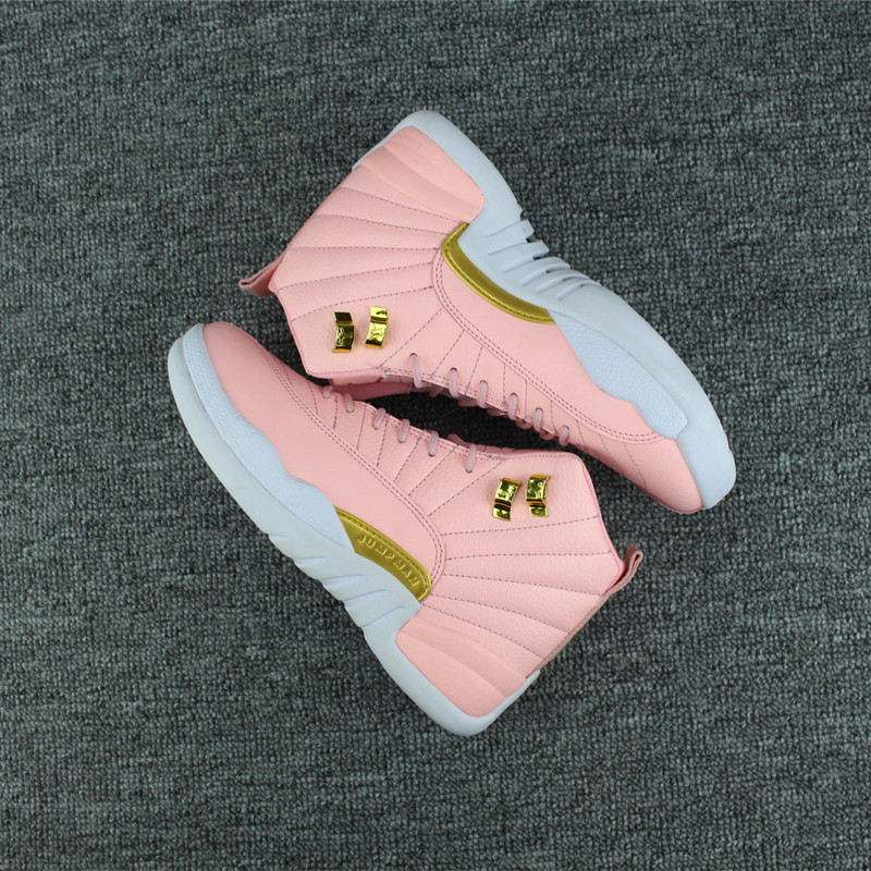 New Air Jordan 12 Pink Gold White For Women