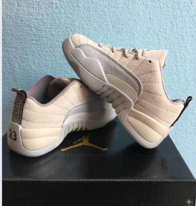 New Air Jordan 12 Retro Beige Grey Shoes For Kids