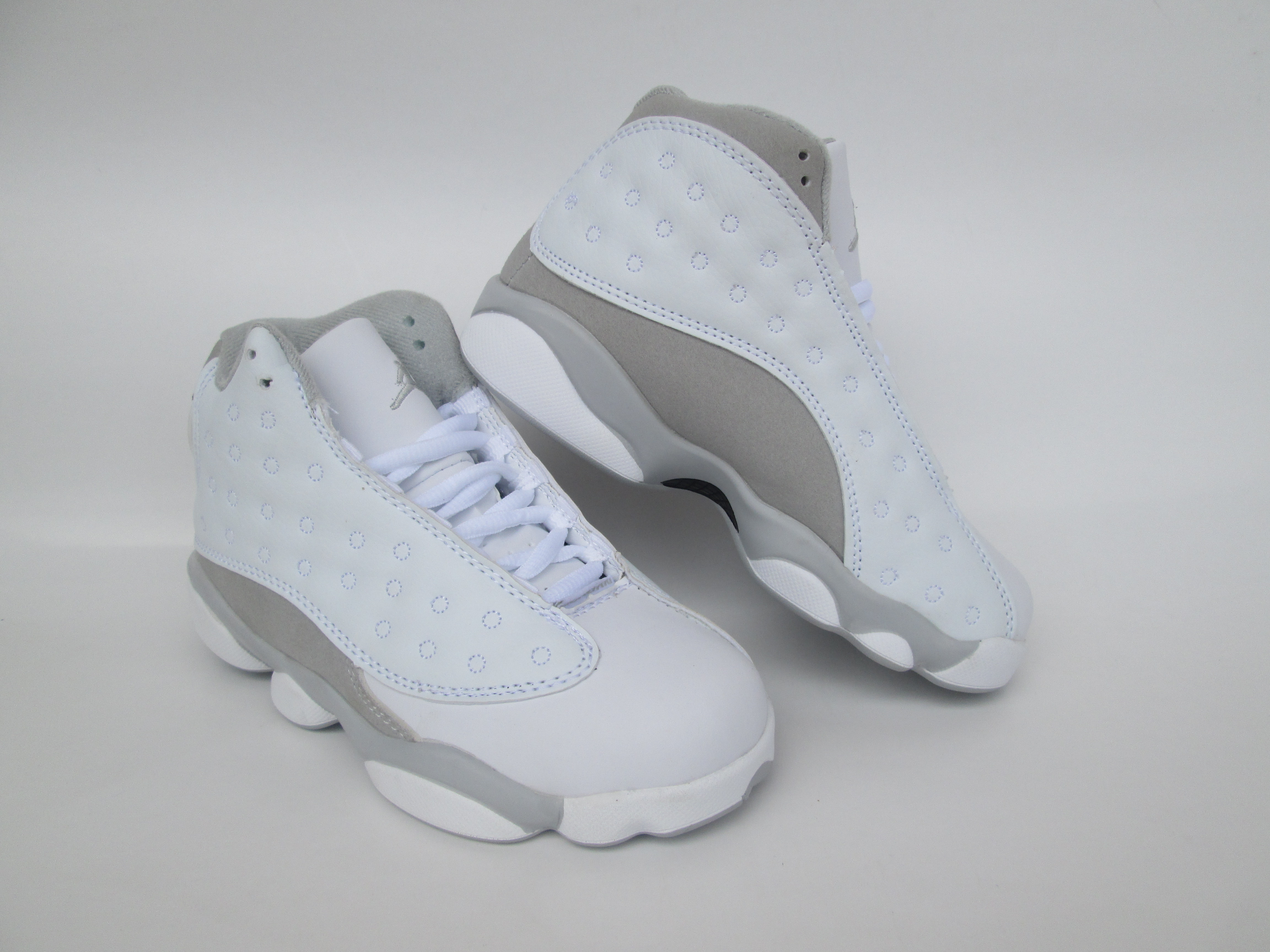 New Air Jordan 13 Deep White Grey Shoes For Kids
