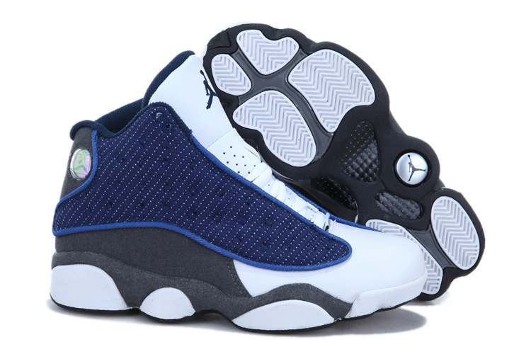 Cheap Jordan 13 White Blue Grey For Women