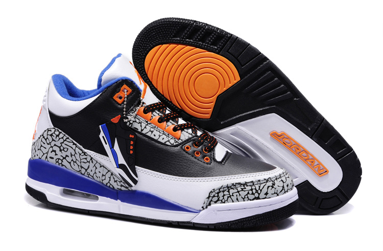2013 New Arrival Jordan 3 Black White Blue Orange