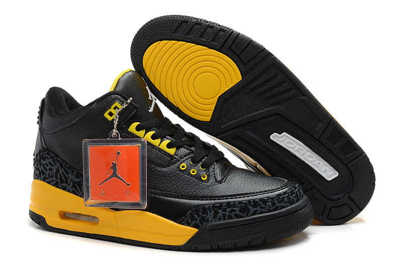 New Jordan Retro 3 Black Yellow