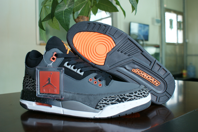 New Air Jordan 3 Grey White Orange Shoes
