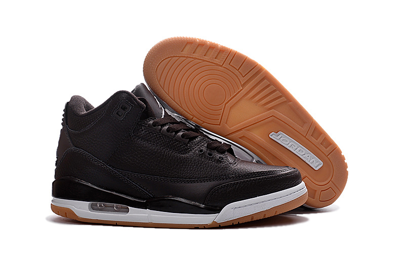 New Air Jordan 3 Retro Black White Brown