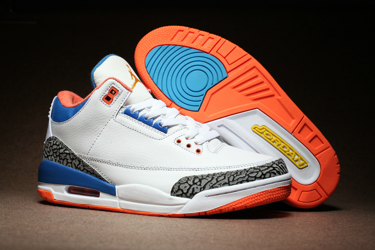 New Air Jordan 3 White Cement True Blue Orange