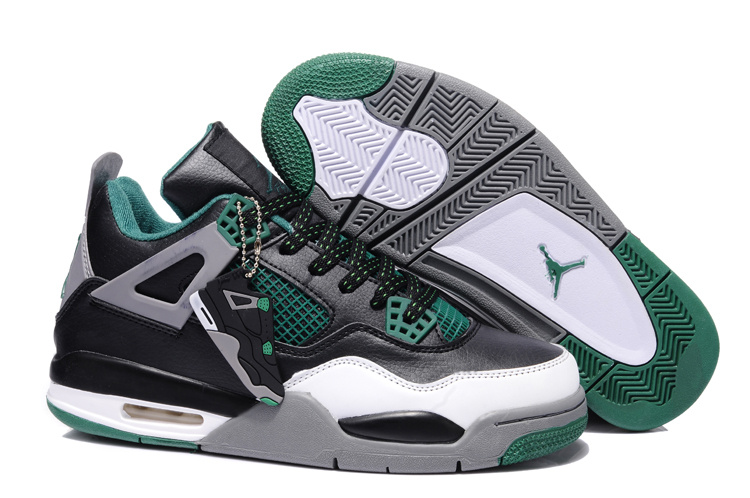 New Jordan Retro 4 Grey Green Black White