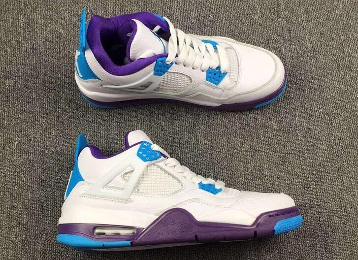 sale retailer 3fe9b f55e9 New Air Jordan 4 Hornets White Blue Purple