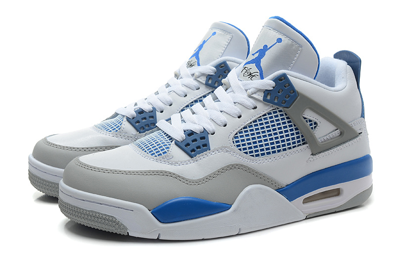 New Air Jordan Retro 4 White Grey Baby Blue Shoes