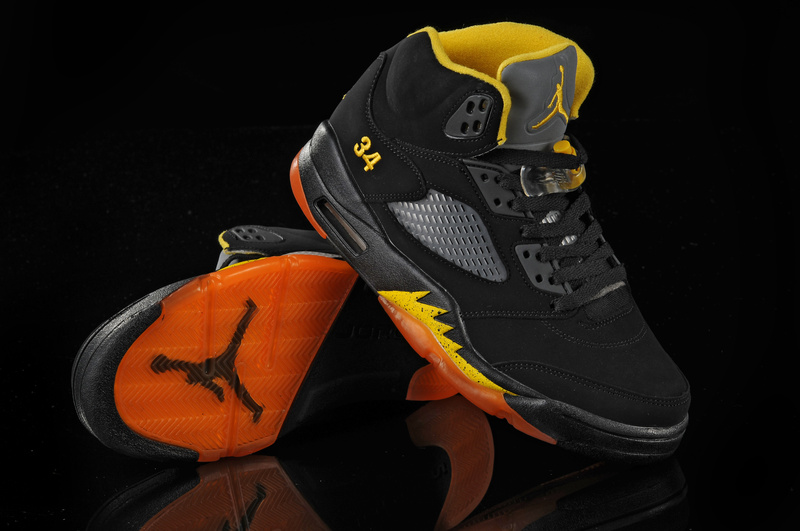 Authentic Jordan Retro 5 Black Orange Yellow
