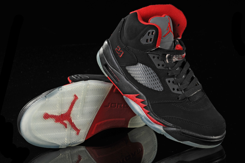 New Jordan Retro 5 Black White Red