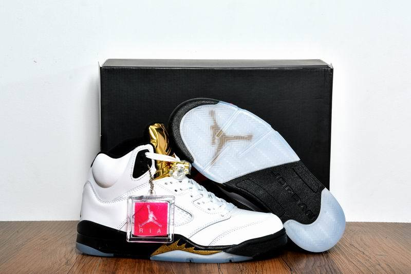 New Air Jordan 5 Olympic Gold Medal White Black Metallic Gold Coin