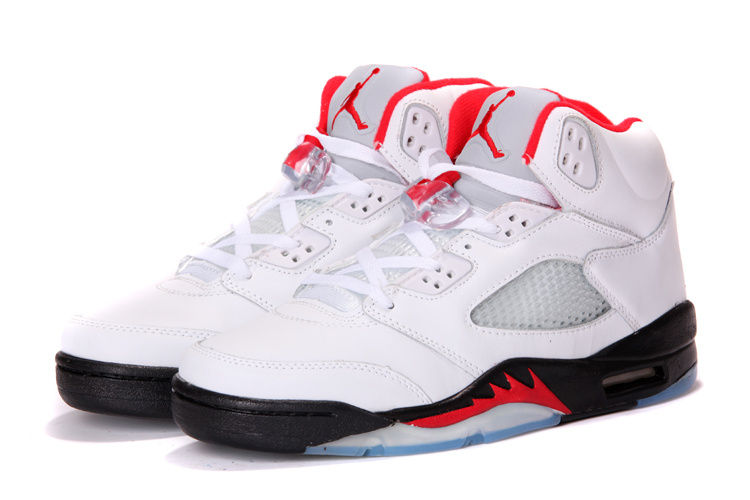 half off 4fa10 2e275 Real New Jordan Retro 5 White Black Red For Cheap