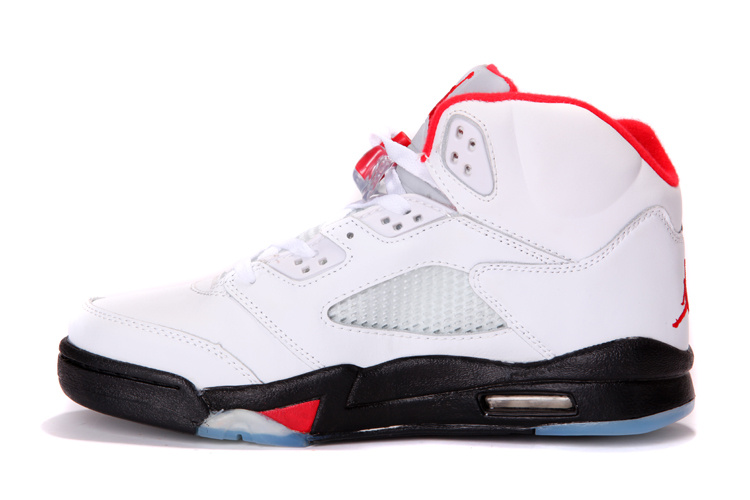 half off 7084b e2168 Real New Jordan Retro 5 White Black Red For Cheap