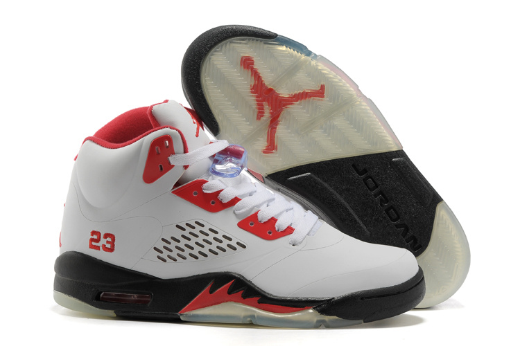 New Jordan Retro 5 White Red Black Shoes