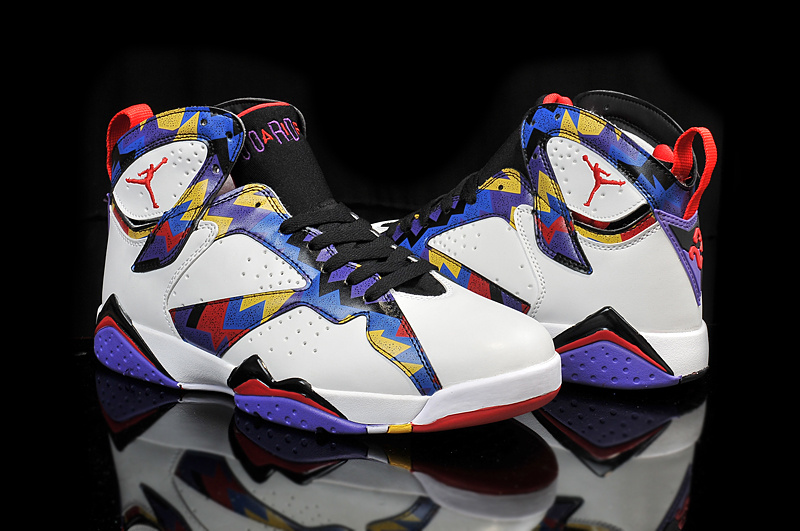 Cheap 2015 Air Jordan 7 Retro OG White Blue Black Red Yellow Shoes