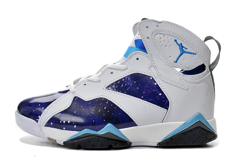 online store 236bb f478e New Air Jordan Retro 7 Purple White Light Blue Shoes