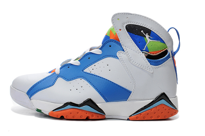 New Air Jordan Retro 7 White Blue Orange Shoes