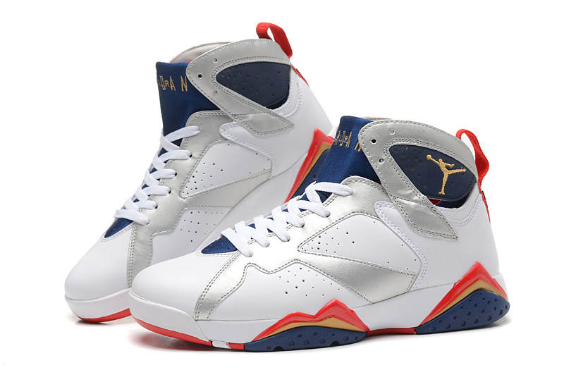 finest selection 50a5c 04be5 New Air Jordan Retro 7 White Silver Blue Red Shoes