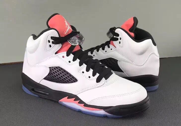 New Air Jordan 5 White Black Pink Shoes For Women