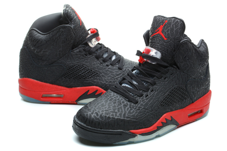 New Jordan 5 Retro Burst Crack Black Red Shoes