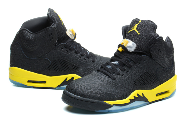 New Jordan 5 Retro Burst Crack Black Yellow Shoes