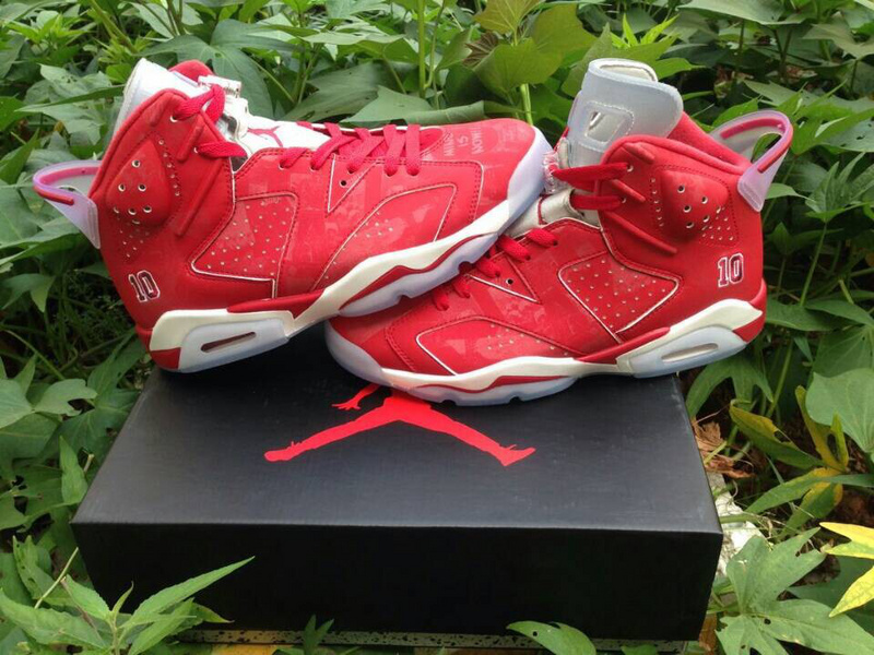 New Jordan 6 Slam Dunk Red White Shoes