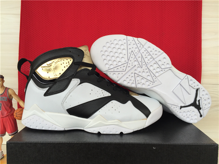 Cheap 2015 Air Jordan 7 Retro White Black Gold