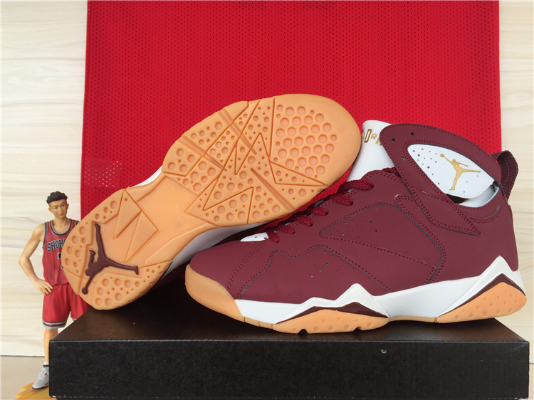 Cheap 2015 Air Jordan 7 Retro Wine Red White Orange