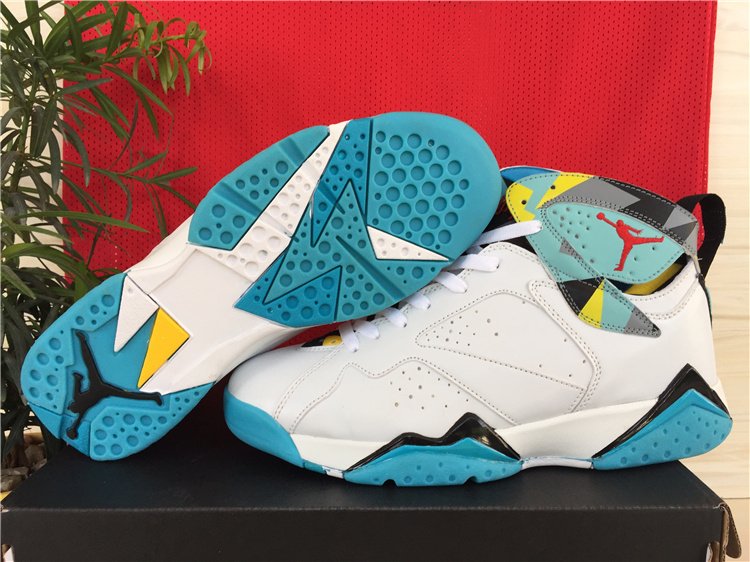 Cheap 2015 Air Jordan 7 Shoes White Green Yellow