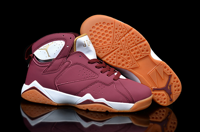 Cheap Real 2015 Air Jordan 7 Wine Red White Orange Shoes For Women