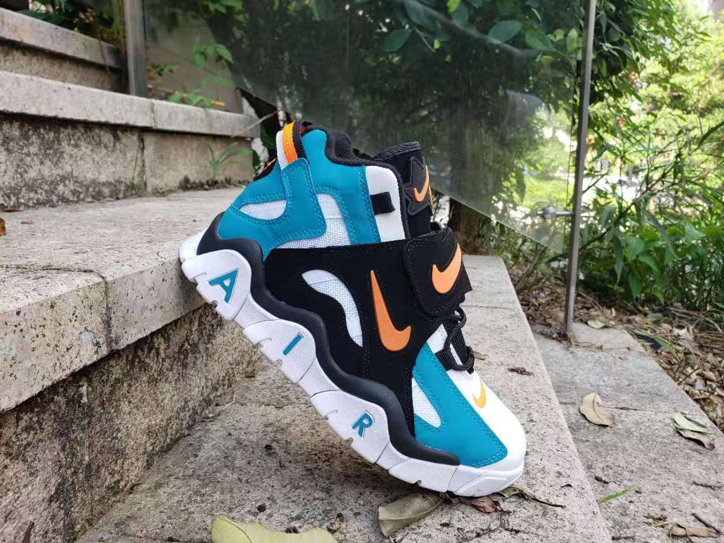 Cheap Women Nike Air Barrage Mid QS Black Yellow Blue White