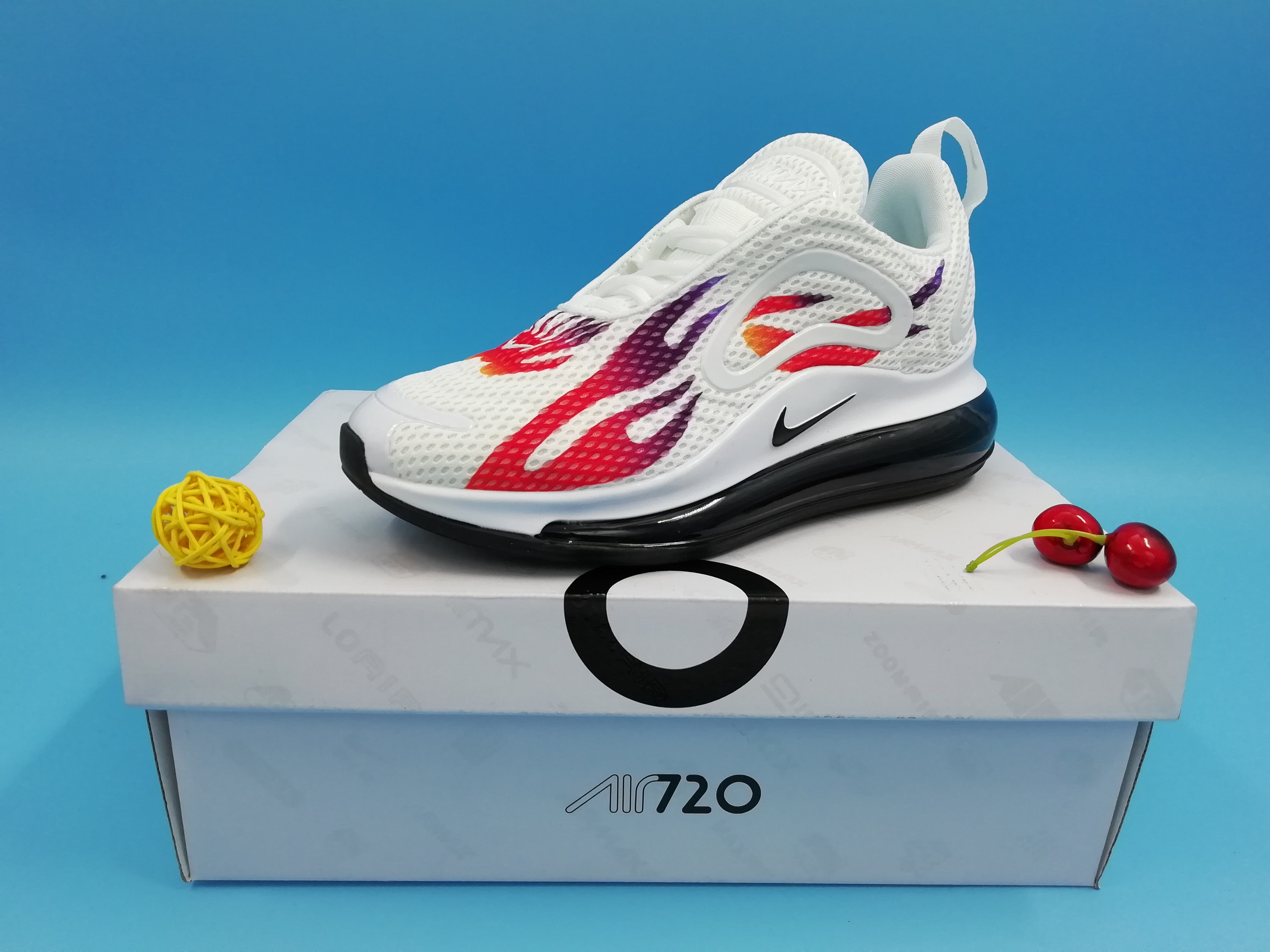 Real Nike Air Max 720 Fire Print White Red Black