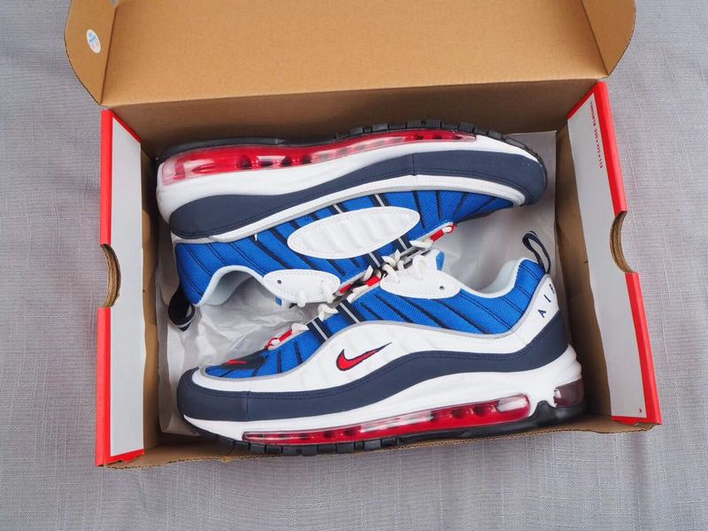Nike Air Max 98 White Blue Black Red Shoes