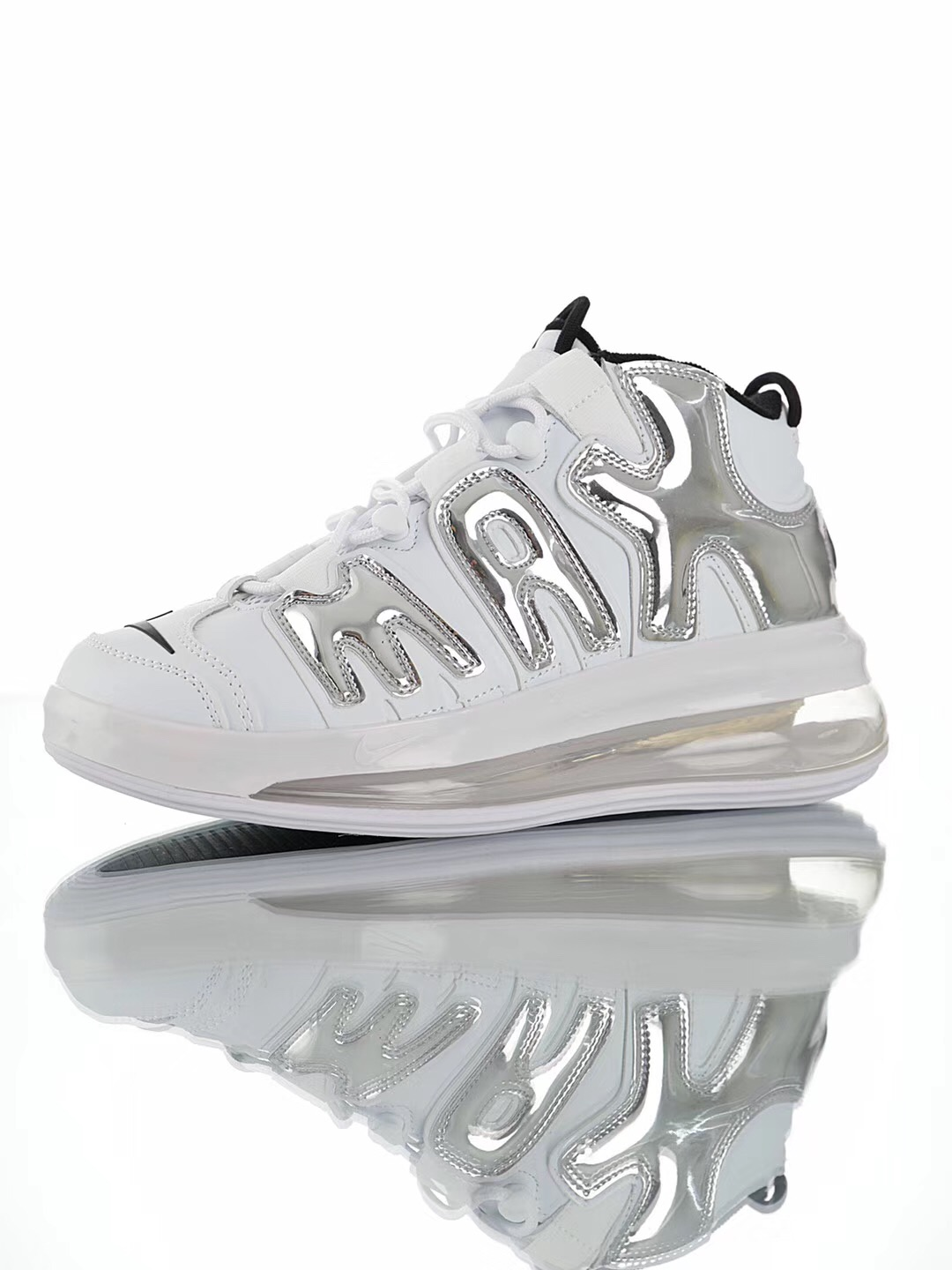 Cheap Real Nike Air More Uptempo 720 QS9 White Silver